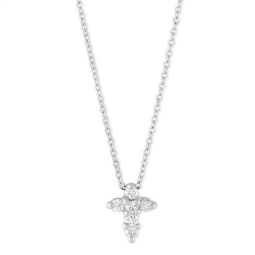 Roberto Coin Baby Cross Pendant With Diamonds 18k White Gold
