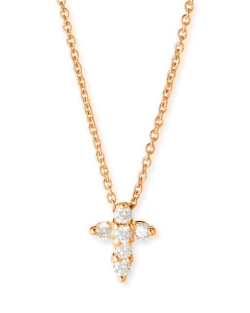 Roberto Coin Baby Cross Pendant With Diamonds 18k Yellow Gold