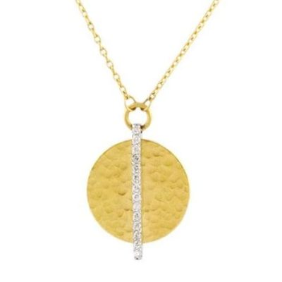 GURHAN Lush Pendant Necklace, round, Diamond stripe, 14mm