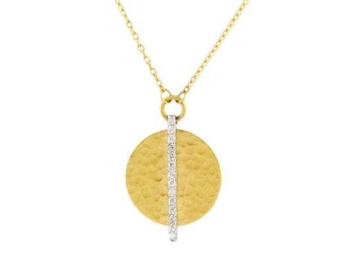 GURHAN Lush Pendant Necklace, round, Diamond stripe, 14mm