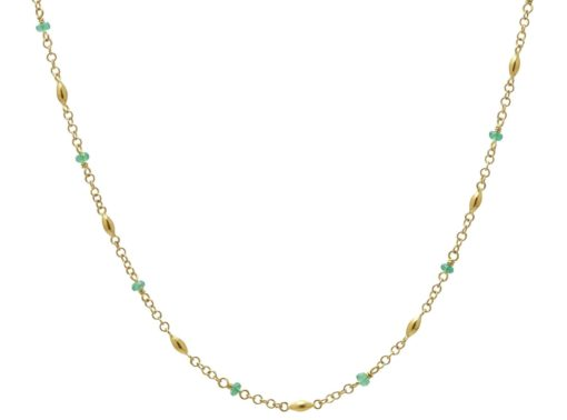 GURHAN Olive Station Necklace, Faceted Emerald Beads, 18""