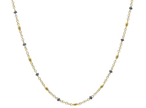 GURHAN Olive Station Necklace, Faceted Sapphire Beads, 18""