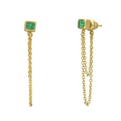 GURHAN One-of-a-kind Rune Double Chain Earring, Cube Emerald