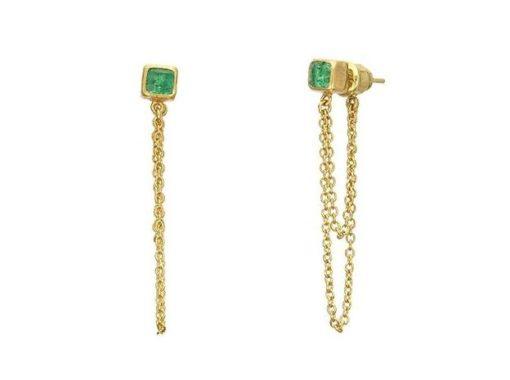 GURHAN One-of-a-kind Rune Double Chain Earring, Cube Emerald