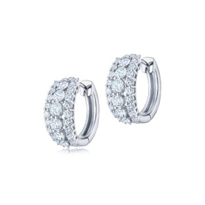 Kwiat The Eclipse Collection Three Row Round Diamond Huggie Earrings