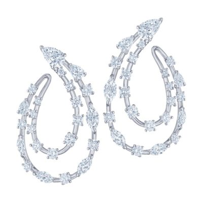 Kwiat The Starry Night Collection. 2 Row Side Hoop Earring