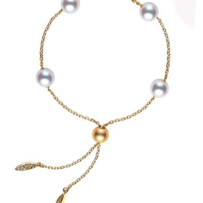 MIKIMOTO ADJUSTABLE Akoya Cultured Pearl Station Bracelet in Yellow Gold