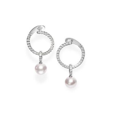 MEA10289ADXW MIKIMOTO Akoya Cultured Pearl and Diamond Hoop Earrings