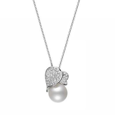 MIKIMOTO Les Petales Place Vendome 12mm Pearl & Diamond Necklace