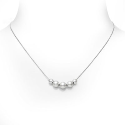 MIKIMOTO White Gold Five Pearl Station Necklace