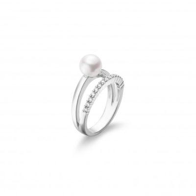 MIKIMOTO Akoya Cultured Pearl and Diamond Ring– 18K White Gold