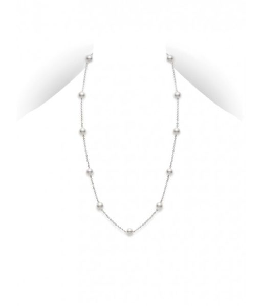 """MIKIMOTO 16"""" Akoya Cultured Pearl Station Necklace in White Gold"""