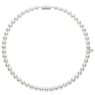 """MIKIMOTO 18"""" Akoya Cultured Pearl Strand Necklace – 18K White Gold Clasp"""